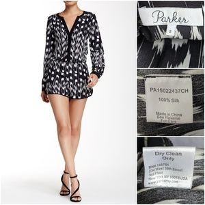 Parker Pants - Parker Prescott Silk Romper in Striga / Ikat print